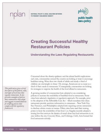 Creating Successful Healthy Restaurant Policies Cover