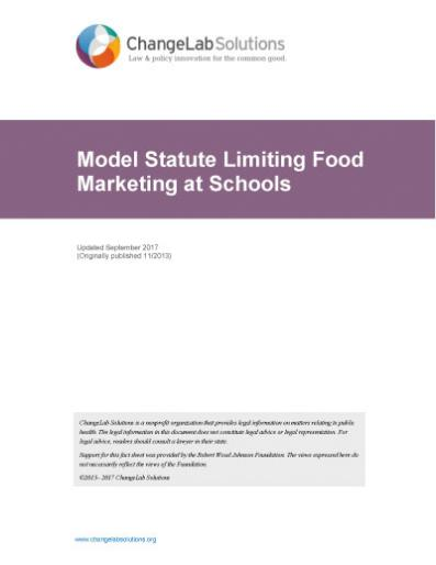 Model Statute Limiting Food Marketing at Schools Cover