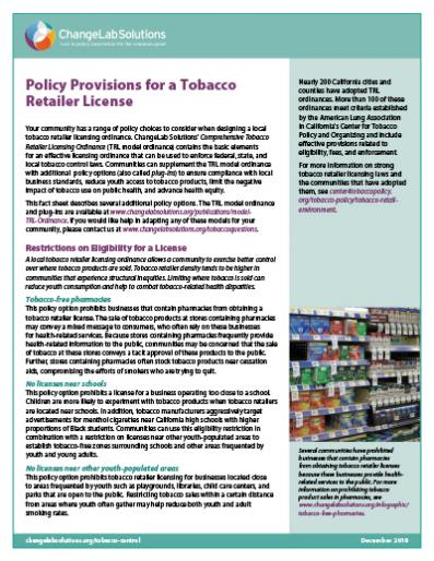Policy Provisions for a Tobacco Retailer License Cover