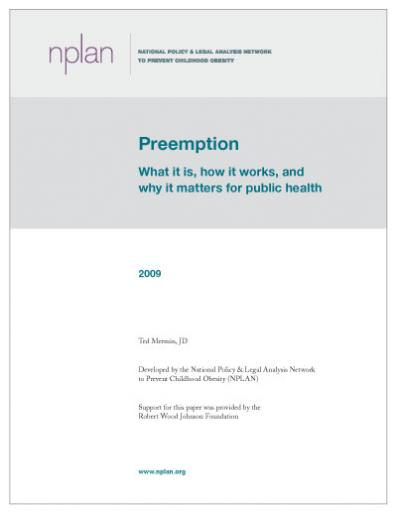 Preemption and Public Health Cover