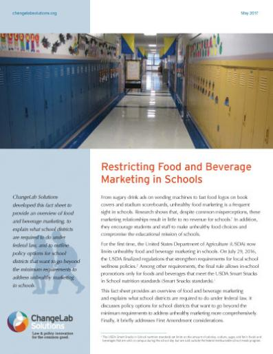 Restricting Food and Beverage Marketing in Schools Cover
