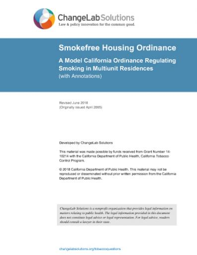 Smokefree Housing Model Ordinance Cover