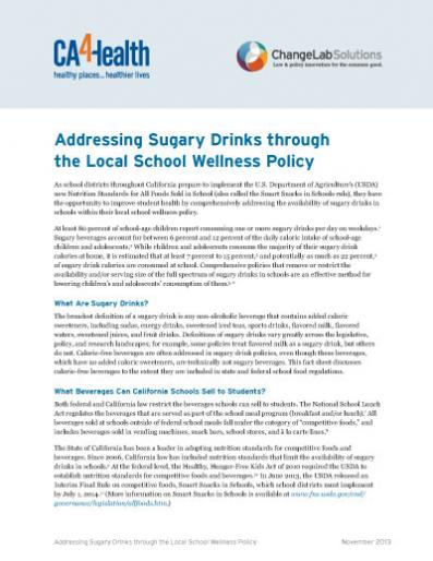 Addressing Sugary Drinks through the Local School Wellness Policy Cover