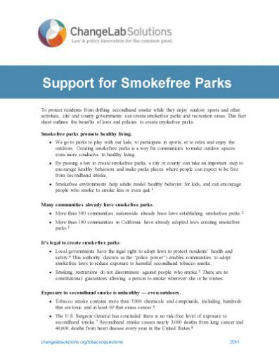 Support for Smokefree Parks Cover