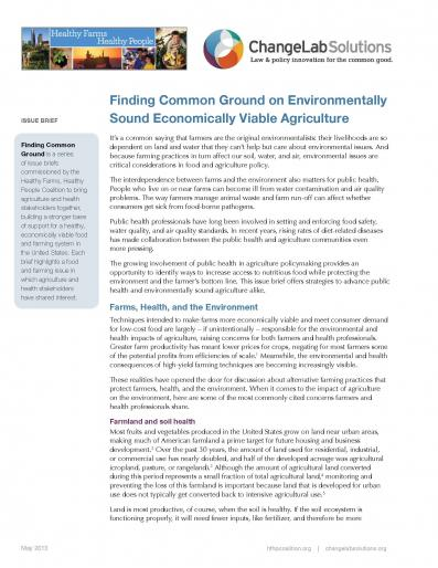Finding Common Ground on Environmentally Sound & Economically Viable Agriculture