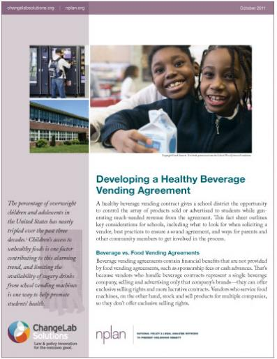 Developing a Healthy Beverage Vending Agreement