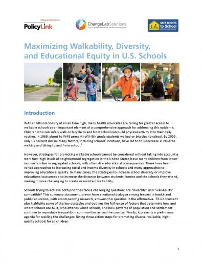 Maximizing Walkability, Diversity, and Educational Equity in U.S. Schools