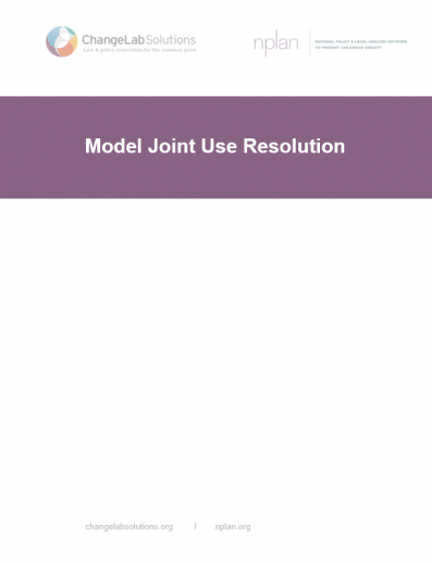 Model Joint Use Resolution