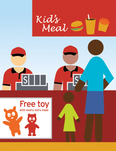 A child and parent ordering a kid's meal