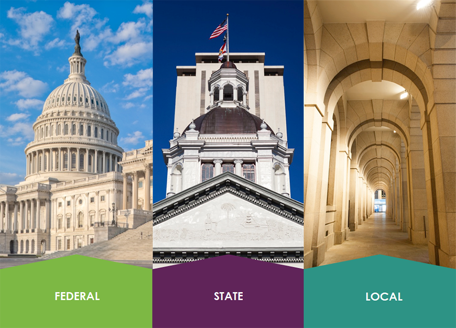 Federal, state, and local levels of government