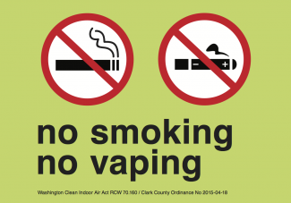 A sign indicating no smoking or vaping permitted